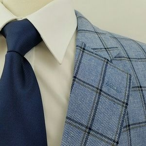 Stafford Blue Windowpane Sport Coat Linen Cotton